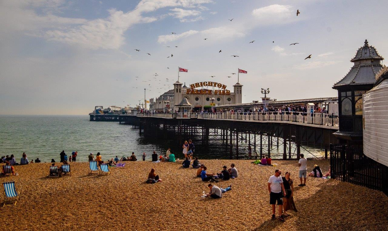 Brighton pier on the seafront and beach